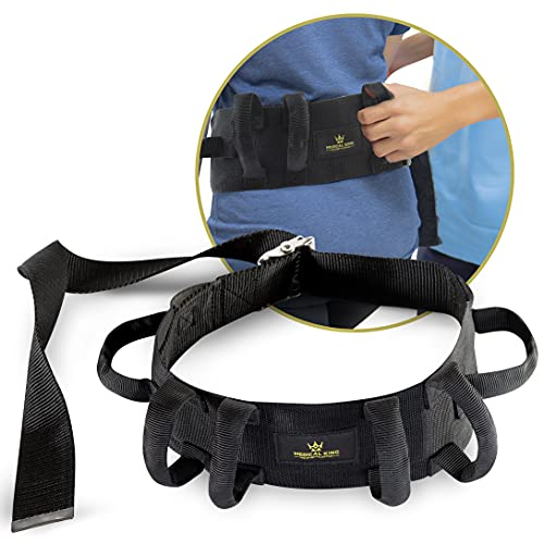 Transfer Belt Fle to unlock - 55' holds up 500 LBS - or Lifting Seniors - Gait Belt With 6 Handles - Great lift belt for elderly, therapy, handicap etc. walking and standing - easy buckBy medical king