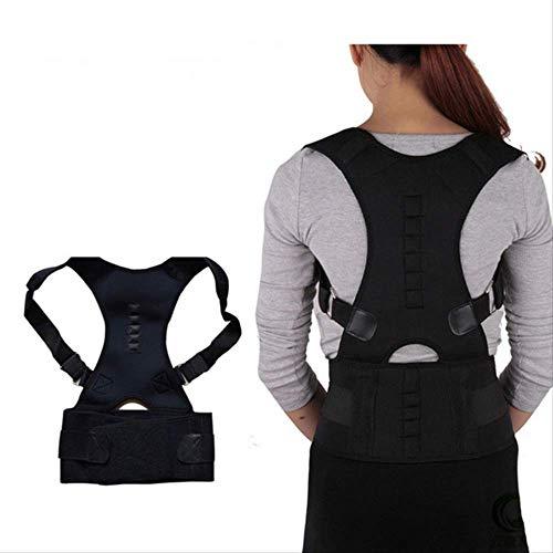 VBNM Soporte de Espalda Corrector De Postura Magnético Ajustable Corsé Tirante De Espalda Hombro Lumbar Columna De Soporte Cinturón Corrección De Postura para Hombres Mujeres XL Negro