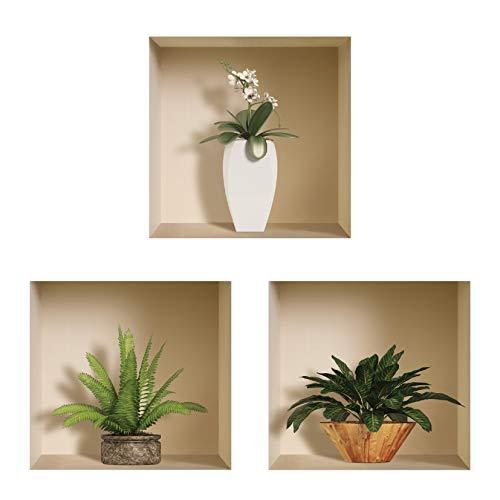 Die entfernbaren Nisha Art Magic 3D-Vinyl-Wandabziehbilder zum Selbermachen, 3er-Set, Grüner Topf und Vase