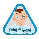 Baby on Board Aufkleber Auto 10x9,1cm Tier Motiv Sticker Autoaufkleber für Heckscheibe Kofferraumdeckel Kfz Zubehör Selbstklebend Wetterfest R128 (Blau, Junge)