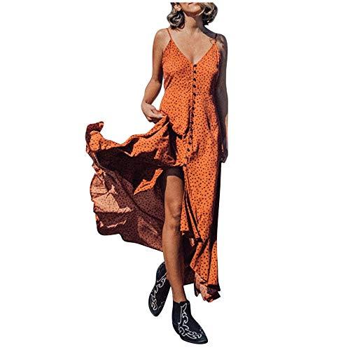 Vestido de Espagueti de Lunares Mujer, Dragon868 Boho Vestidos de Desigual Largos de Swing para Verano de Playa 2020, Maxi Vestidos Sexy Mujer de Fiesta Elegante con Cuello En V Botón