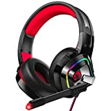 ZIUMIER Z66 Gaming Headset for PS4, Xbox One, PC, Wired Over Ear Headphone with Noise Isolation Microphone, LED RGB Light,Surround Sound for Laptop Computer Nintendo Switch