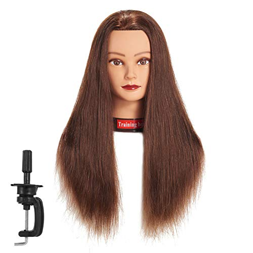 Traininghead 24'-26' 100% Human Hair Mannequin Head Training Practice Head Cosmetology Manikin Head Doll Head With Free Clamp (dark brown)
