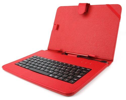 DURAGADGET Custodia Tastiera Rossa per Tablet di 10.1  - Connessione microUSB + Pennino Capacitivo - Funzione Leggio Stand - 2 Anni di Garanzia - Alta qualità