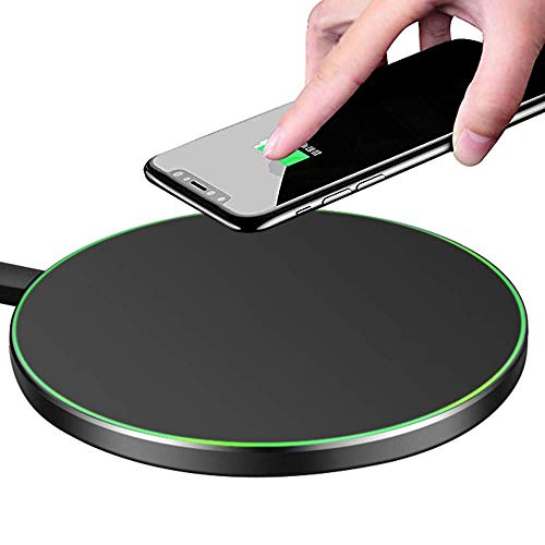 MMOBIEL Wireless Charger Pad Aluminium Upgraded 5W/7.5W/10W Compatible with iPhone 12/12 Pro(Max)/11/X Samsung Galaxy S21(+)/S20(+)/S10(+)/S9(+) Note 20/10/9 AirPods Pro/2/1 - No AC Adapter (Black)