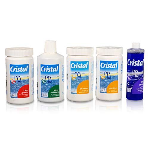 POOL Total Cristal Set Wasserpflege Chlor (6 TLG.)/ Chlor- Set zur Wasserdesinfektion/Poolpflege Wasserpflege