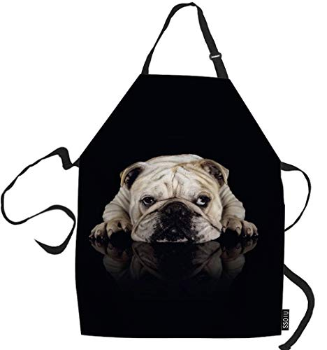 SSOIU Bulldog Cooking Apron, Little Funny Dog Bulldog Kitchen Apron for Baking/BBQ Men Women Unisex Waterproof 31X27 Inches