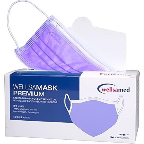 wellsamed wellsamask Mundschutz Gummibänder, Mund und Nasenschutz, OP-Masken, Einweg, 50 Stück, Lila lavendel, CE/EN 14683 Typ IIR (Typ 2R) 3-lagig