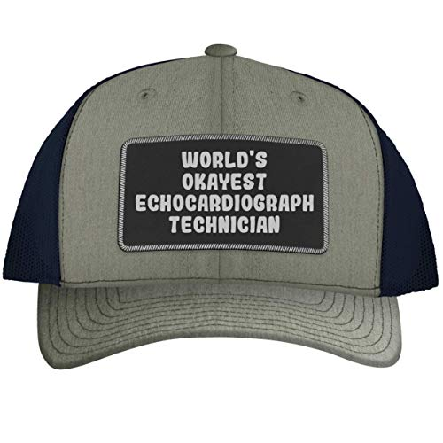 World's Okayest Echocardiograph Technician - Leather Black Patch Engraved Trucker Hat, Heather-Navy, One Size