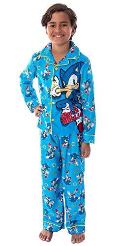 Sonic The Hedgehog Boys' Pajamas Let's Roll! Notch Collar Top And Pants Video Game Sleepwear Pajama Set (SM, 6/7) Light Blue