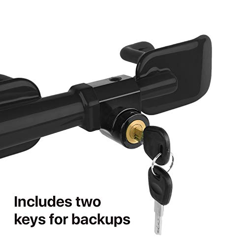 Flexzion Steering Wheel Lock, Heavy Duty Anti-Theft Security System Club Crook Lock with 20-28.5 inch Span & 2 Keys for Car, Roadster, Convertibles, SUV, Pick Up Truck, Cargo Van, Golf Cart (Black)