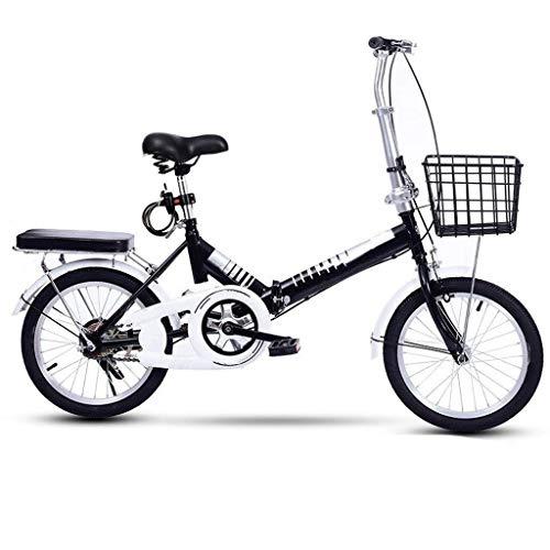DFKDGL Mountainbike, klappbares Citybike mit bequemem Schwammsitz, Korb aus hohem Kohlenstoffstahl und erhöhtem Rad, tragbares Cruiser-Fahrrad für Frauen, 16-Zoll-Rad, Damenrad