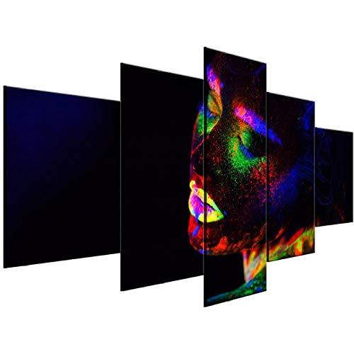 Wslin 5 stuks op canvas, mooie slinger, modern canvas, decoratie op canvas, wanddecoratie, wanddecoratie, 150 x 80 cm