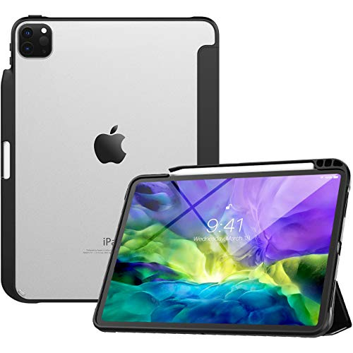 TiMOVO Case for New iPad Pro 11 Inch 2020 (2nd Generation) with Pencil Holder, [Support iPad Pencil Charging] Slim Trifold Clear Case with Soft TPU Air-Pillow Edge, Auto Wake/Sleep - Black