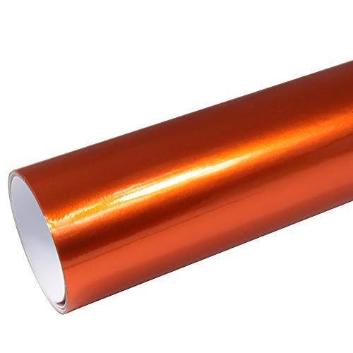 Rapid Teck® 8,55€/m² AutoFolie Serie z560 Candy Fire Orange Hochglanz 1m x 1,52m selbstklebende Premium Car Wrapping Glanz Folie mit Luftkanal