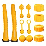 Gas Can Spout Replacement,Gas Can Nozzle,(2 Kit-Yellow) with 4 Screw Collar Caps(2 Coarse Thread &2 Fine Thread-Fits Most of The Cans) with Gas Can Vent Caps,Thick Rubber pad,Spout Cover,Base Caps