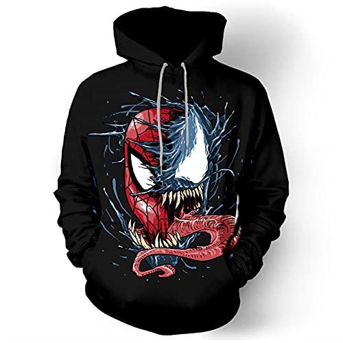 GJZhuan Juventud Venom Chándal Hombre Vengadores Sudadera Niños Halloween Sudaderas Otoño Pullover Impresión 3D Suéter Superhéroe Cosplay Disfraz,Black-Adults/L