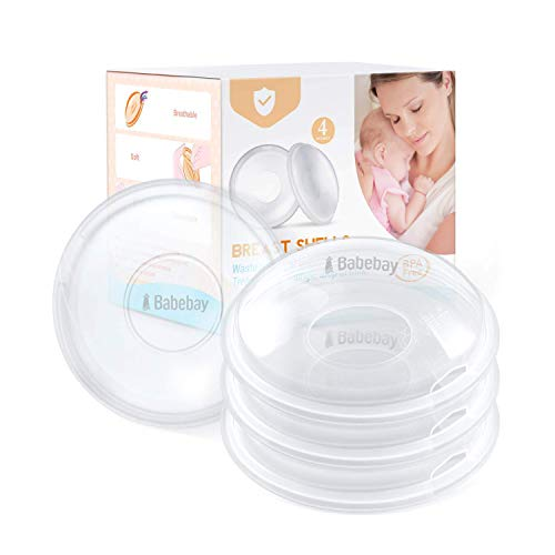 Breast Shells, 4 Pack Nursing Cups, Milk Saver, Protect Sore Nipples for Breastfeeding, Collect Breastmilk Leaks for Nursing Moms, Soft and Flexible Silicone Material, Reusable