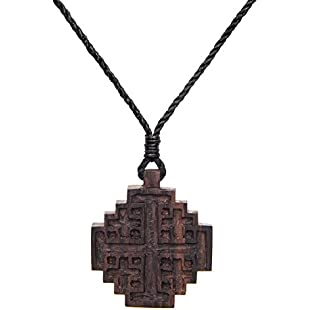 81stgeneration Women's Men's Wood Jerusalem Crusader Cross Religious Charm Pendant Necklace