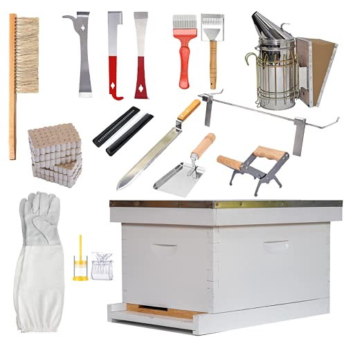 POLLIBEE Beehive Starter Kit 8-Frame Bee Hives and Supplies Starter Kit, Wax Coated and Painted...