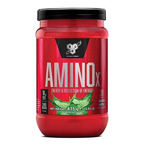 BSN Amino X BCAA Pulver, Zuckerfrei Aminosäuren Komplex Hochdosiert mit Vitamin D, Vitamin B6, Arginin, Taurin und Alanin, Green Apple, 30 Portionen, 435g
