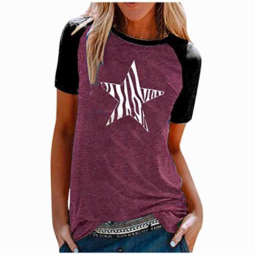 Damen T-Shirt Shirt Rundhals Kurzarm, KIMODO Sunflower Cat Oberteile Hemd Tops Bluse Sommer Frauen O-Ausschnitt Lässiges Slim Stitching Drucken Tee (Lila, XL)