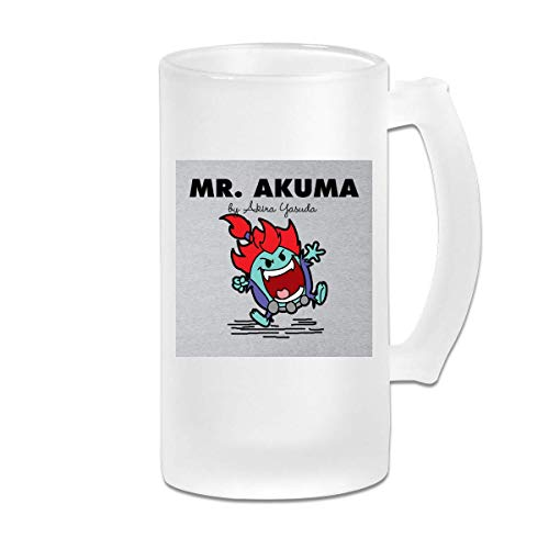 Tasse de tasse de bière Stein en verre givré imprimé 16 oz - Mr Akuma Street Fighter Mr Men - Mug graphique