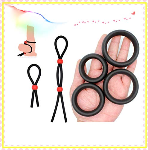 6 piezas / juego de anillo masculino ajustable súper elástico + dispositivo de retardo de silicona / juego de juguete de combinación feliz