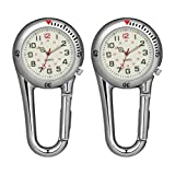 BESPORTBLE 2Pcs Clip en Relojes de Cuarzo Fluorescentes Al Aire Libre Mosquetón Relojes Mochila Hebilla Cinturón Fob Reloj para Médicos Enfermeras Chefs Senderismo Escalada (Blanco)