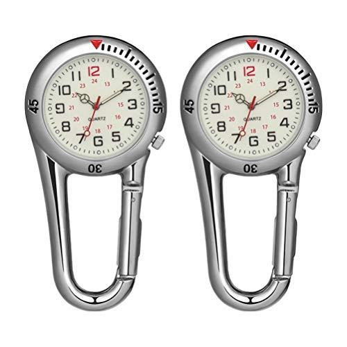 BESPORTBLE 2 Stück Clip auf Quarzuhren Fluoreszierende Outdoor-Karabineruhren Rucksack Schnalle Gürtel Anhänger Uhr für Ärzte Krankenschwestern Köche Wandern Klettern (Weiß)