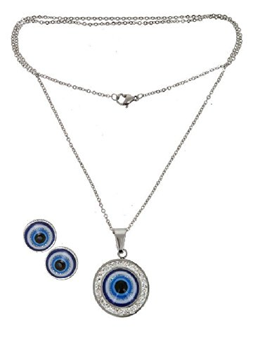 Real Juego de joyas acero inoxidable cadena con colgante y pendientes de Tercer Ojo