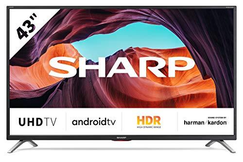 Sharp Aquos 43BL6E - 43' Smart TV 4K Ultra HD Android 9.0, Wi-Fi, DVB-T2/S2, 3840 x 2160 Pixels, Nero, suono Harman Kardon, 4xHDMI 3xUSB, 2020 [Classe di efficienza energetica A]