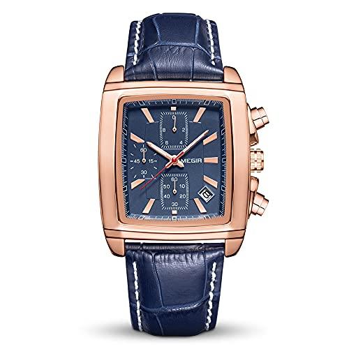 MEGIR Relojes para hombre con correa de piel, luminoso, rectangular, analógico, reloj de pulsera de cuarzo para hombre, 2028rosa,