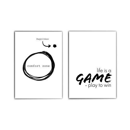 Motivation Poster Set- 2 Motivierende Sprüche - din a4 / 30x40 cm - perfekt für das Büro oder Arbeitszimmer - Life is a Game play to win - comfort zone - ohne Bilderrahmen
