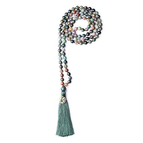 coai Unisex Handgeknüpft 108 Mala Yoga Kette Buddhistische Halskette Gebetskette aus Facettierte Indischer Achat mit Quaste und OM Anhänger