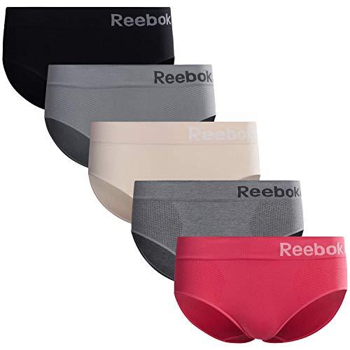 Reebok Women's Underwear - Seamless Hipster Briefs (5 Pack), Size Small, Black/ Grey/ Nude/ Spacedye Grey/ Hot Pink