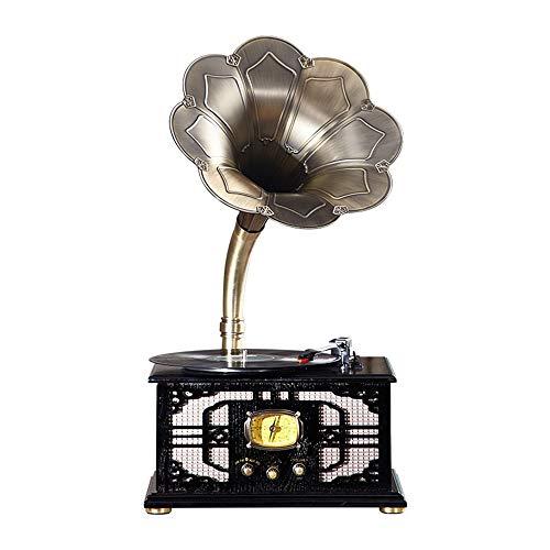 JHKJ Plattenspieler Mit Radio-Riemenantrieb Plattenspieler, Vintage-Phonograph-Grammophon Mit Kupferhorn, Vintage-Phonograph Mit Vinyl-Plattenspieler für Zuhause, Büro,B