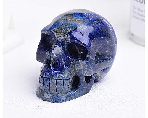 Healing Quartz Crystal Lapis Skull Figurine Statue Sculptures Natural Gemstone Stone Reiki Carved Skull Statue Collection Home Decor 3' 300 Grams (Lapis)