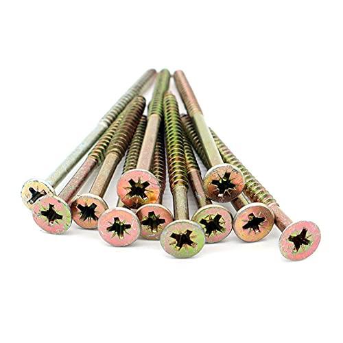 Juego de 50 tornillos para madera, diámetro 5 x 80 mm, de acero latón, metal, cabeza fresada, empotrable en estrella T25, bricolaje