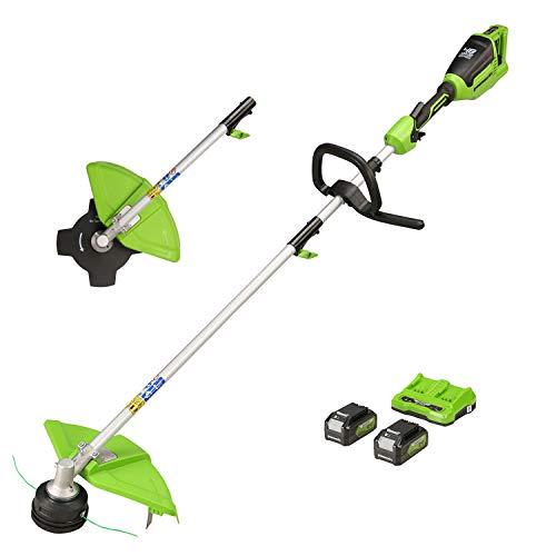 Greenworks Akku-Rasentrimmer GD24X2TX (Li-Ion 2x24V 40cm Schnittbreite 5600 U/min 2mm Fadendurchmesser verstellbarer Zusatzgriff geteilter Schaft mit 2x4Ah Akku und Doppelsteckplatz-Ladegerät)