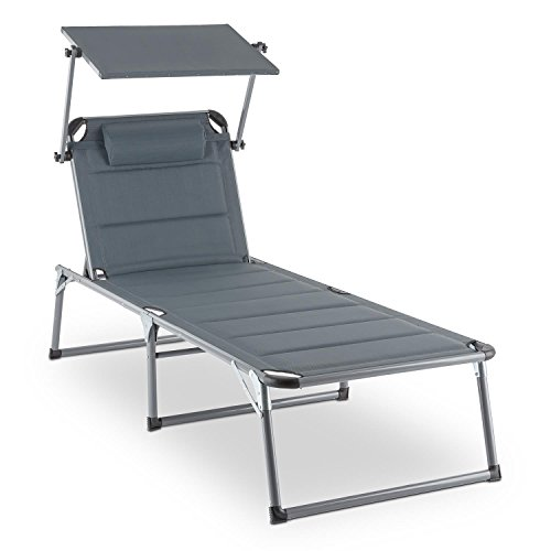 Blumfeldt Amalfi • Outdoor Portable Folding Lounge Chair • 5 Reclining Positions • Sunshade • Adjustable Pillow • Resistant Polyester Cover • Noble Grey