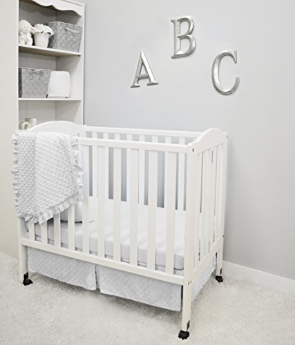 American Baby Company Heavenly Soft Minky Dot 3-Piece Mini/Portable Crib Bedding Set, White, for Boys and Girls