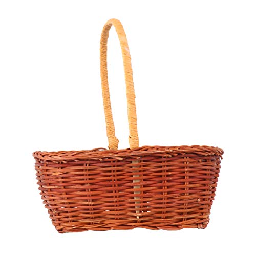 Best Prices! PRETYZOOM Easter Basket Wicker Basket Woven Picnic Basket with Handle Fruit Serving Bas...