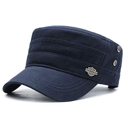 H/A Sombrero para Hombres Tapa Plana Simple Monocromo Militar Sombrero Militar clásico al Aire Libre Tapa Plana Hombres y Mujeres Sombreros MENGN (Color : Navy)