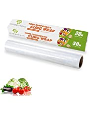 Película adhesiva compostable de biodegradable, película adhesiva para de maíz con dispensador, Dpensador de película adhesiva para frigorífico y microondas (30CM x 30M)