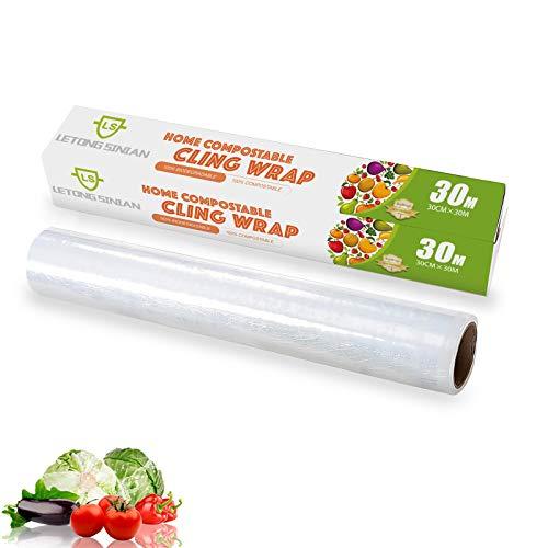 Pellicola per alimenti MEIHAILAN da tagliare, pellicola trasparente biodegradabile con dispenser e lama scorrevole, Pellicola alimentare professionale, freschezza, microonde e congelatore