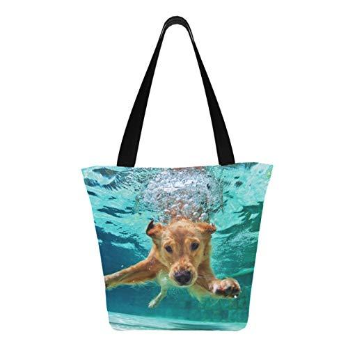 Hund Tauchen unter Wasser im Schwimmbad Bild Id8 11 × 7 × 13 Zoll maschinenwaschbare robuste Polyester-Einkaufstüten Faltbare wiederverwendbare Damen-Einkaufstaschen zum Einkaufen