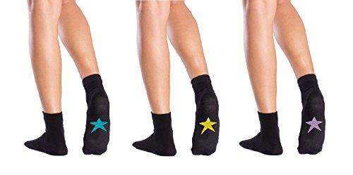 Symbolsocks 3 Paar Socken schwarz mit Motiv, Damen/Herren, 40-43, Sterne