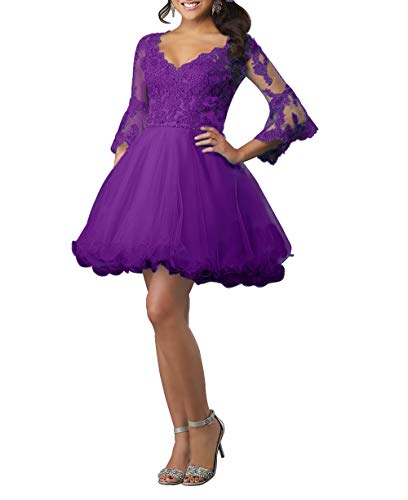 HUINI Ballkleid Damen Kurz Abendkleid Cocktailkleid Elegant Spitzen Abiballkleid mit Ärmel A-Linie Abschlussballkleid Violett 50