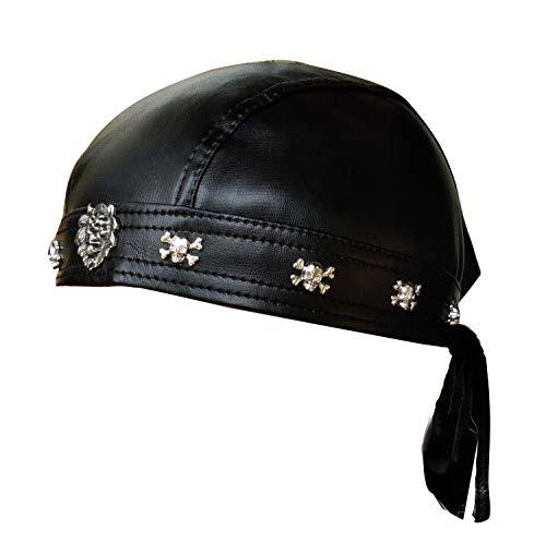 Faux Leather Biker Skull Cap Motorcycle Bandana Head Wrap Du Doo Do Rag Black Hat